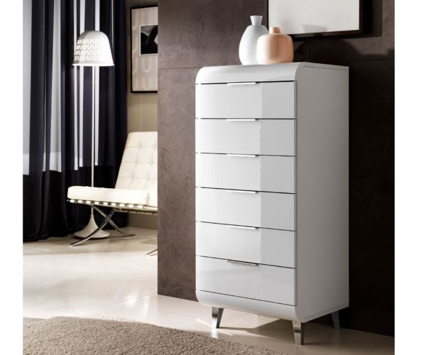 Derrys Furniture Vega White High Gloss 6 Drawer Tallboy