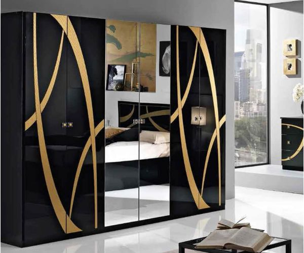 MCS Venice Black Finish 6 Door Wardrobe
