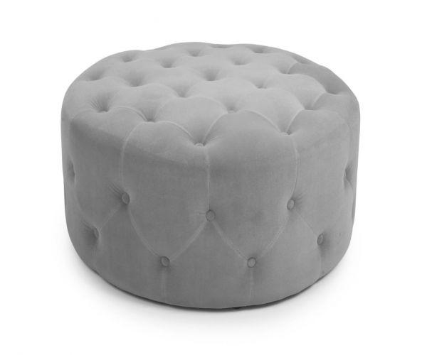 Shankar Verona Brushed Velvet Grey Small Round Pouffe
