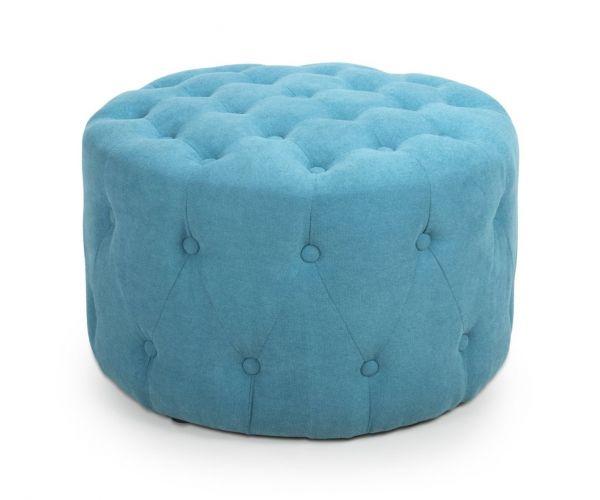 Shankar Verona Turquoise Blue Small Round Pouffe