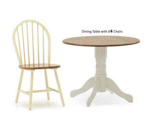 Vida Living Brecon Buttermilk Round Drop Leaf Dining Set with 4 Chairs