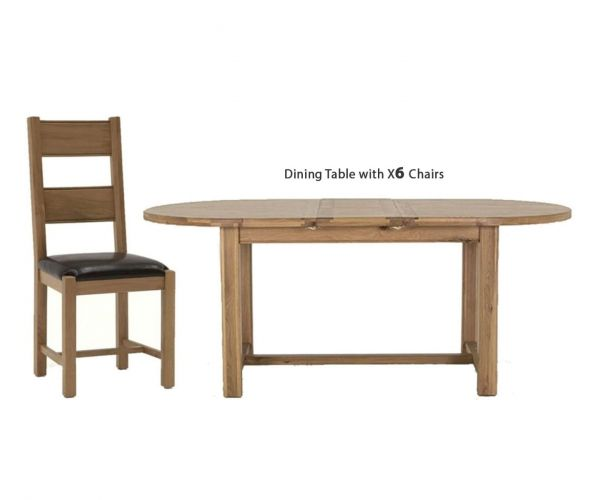 Vida Living Breeze Oak Oval Extending Dining Set with 6 Chairs