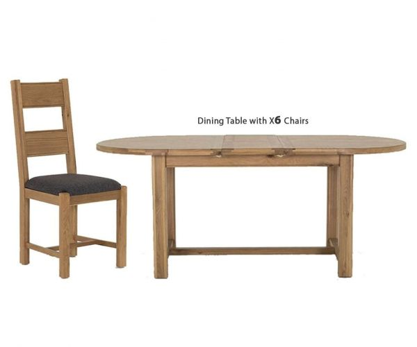 Vida Living Breeze Oak Oval Extending Dining Set with 6 Grey Seat Chairs - 180cm-220cm