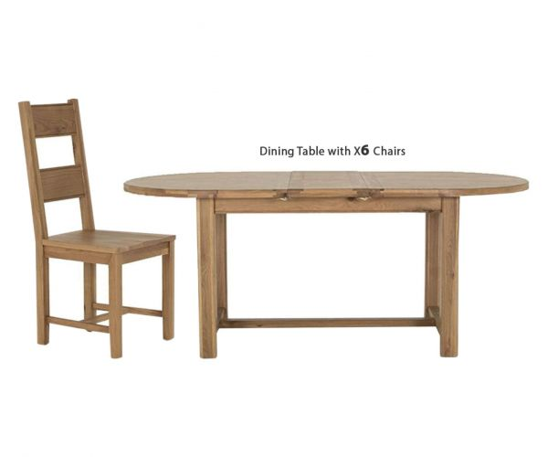Vida Living Breeze Oak Oval Extending Dining Set with 6 Solid Seat Chairs - 180cm-220cm