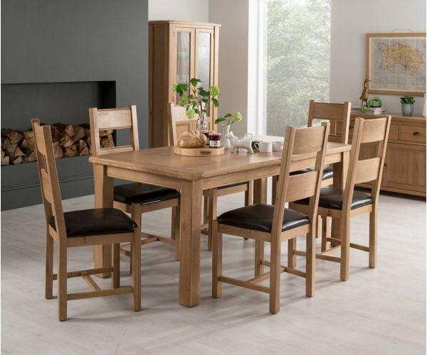 Vida Living Breeze Oak Rectangular Extending Dining Set with 6 Chairs - 180cm-240cm