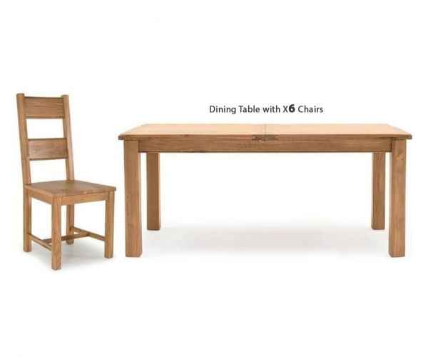 Vida Living Breeze Oak Rectangular Extending Dining Set with 6 Solid Seat Chairs - 180cm-240cm