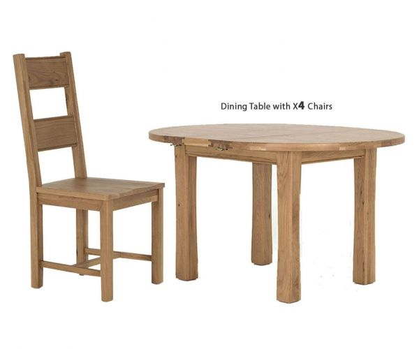 Vida Living Breeze Oak Round Extending Dining Set with 4 Solid Seat Chairs - 107cm-140cm