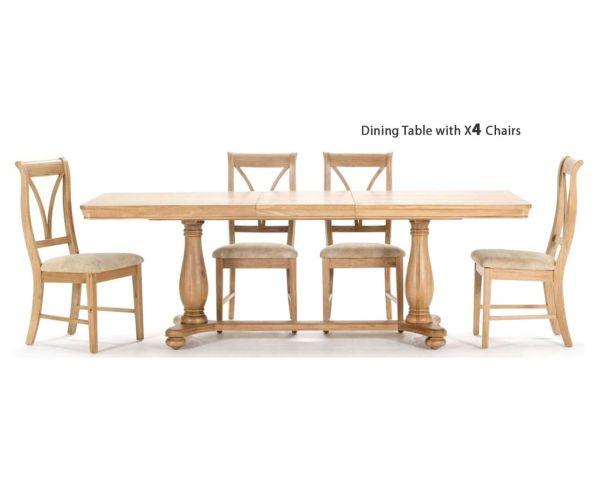 Vida Living Carmen Oak Rectangular Extending Dining Set with 4 Chairs - 180cm-230cm