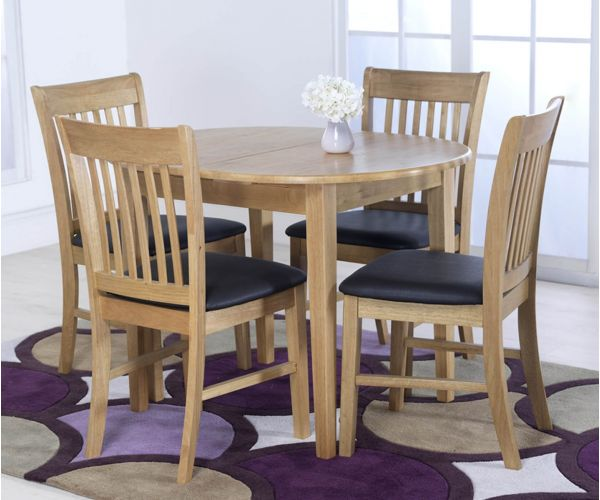 Vida Living Cleo Oak Oval Extending Dining Set with 4 Chairs - 105cm-135cm