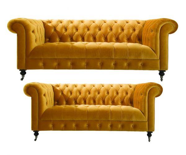 Vida Living Darby Mustard Fabric 3+2 Sofa Set