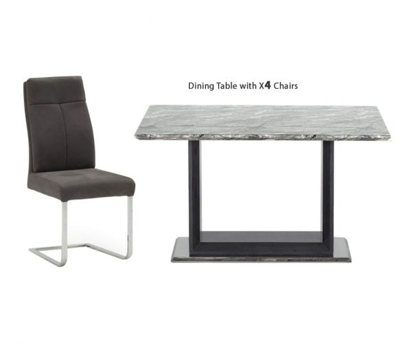 Vida Living Donatella Grey Marble Rectangular Fixed Top Dining Set with 4 Chairs - 120cm