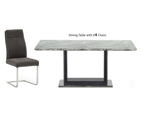 Vida Living Donatella Grey Marble Rectangular Fixed Top Dining Set with 4 Chairs - 160cm