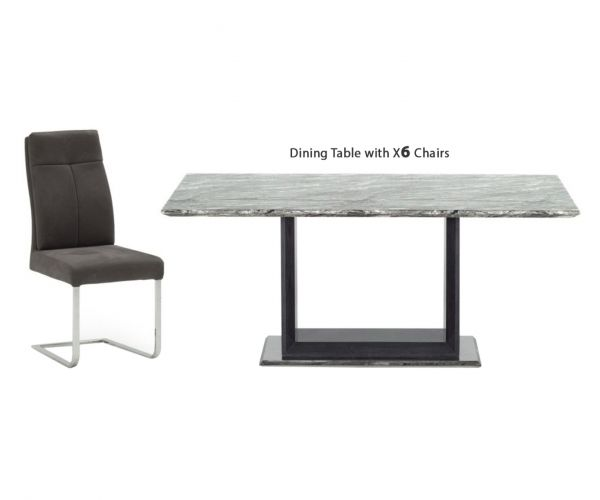 Vida Living Donatella Grey Marble Rectangular Fixed Top Dining Set with 6 Chairs - 220cm