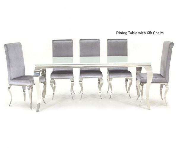 Vida Living Louis White Glass Top Rectangular Fixed Top Dining Set with 6 Chairs - 200cm