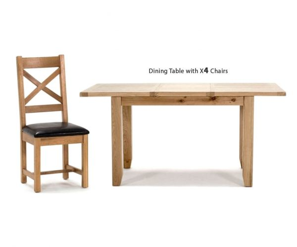 Vida Living Ramore Oak Rectangular Extending Dining Set with 4 Cross Back Chairs - 120cm-165cm