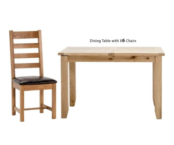 Vida Living Ramore Oak Rectangular Fixed Top Dining Set with 6 Ladder Back Chairs - 160cm