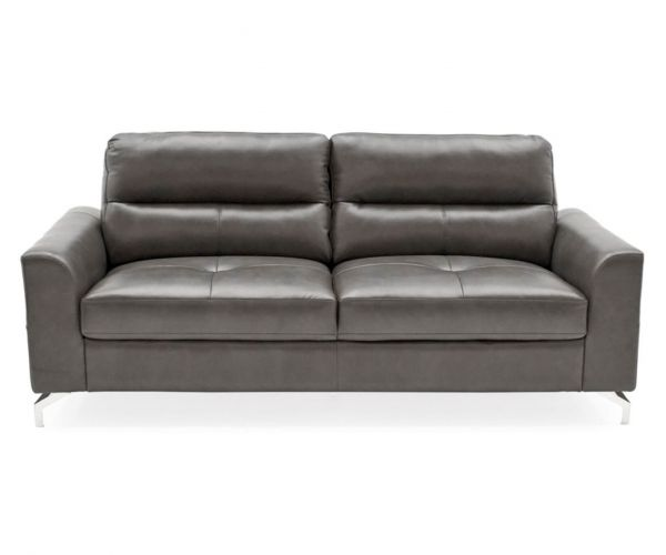 Vida Living Tanaro Grey Leather 3 Seater Sofa