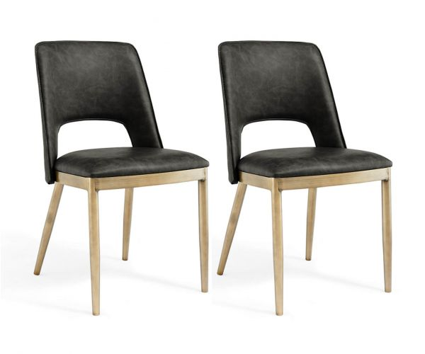 Derrys Furniture Morgan Vintage Grey Faux Leather with Brass Dining Chair in Pair