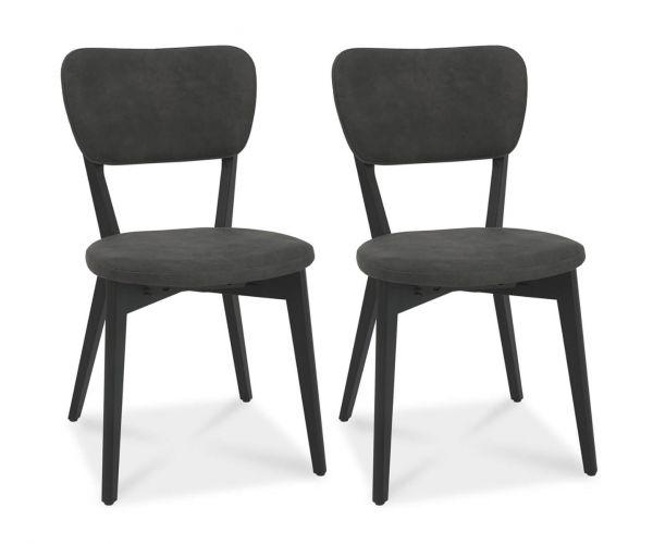 Bentley Designs Vintage Dark Grey Fabric Upholstered Back Chair in Pair with Peppercorn Legs