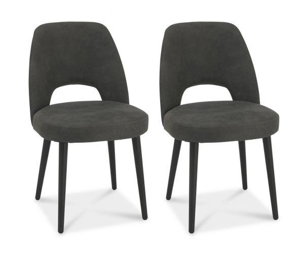 Bentley Designs Vintage Dark Grey Fabric Upholstered Chair in Pair with Peppercorn Legs