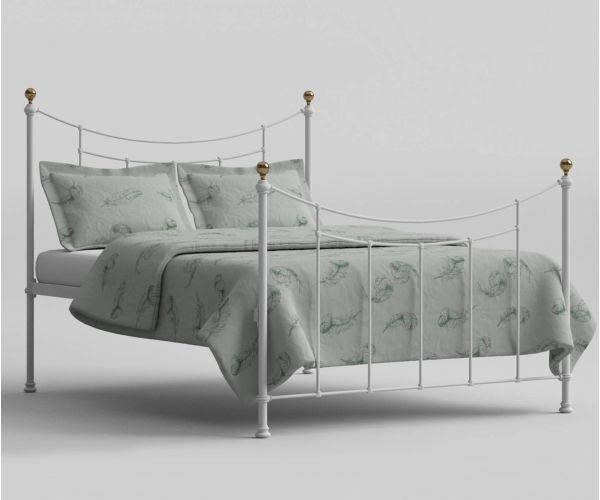 Original Bedstead Company Virginia Satin White with Antique Brass Bed