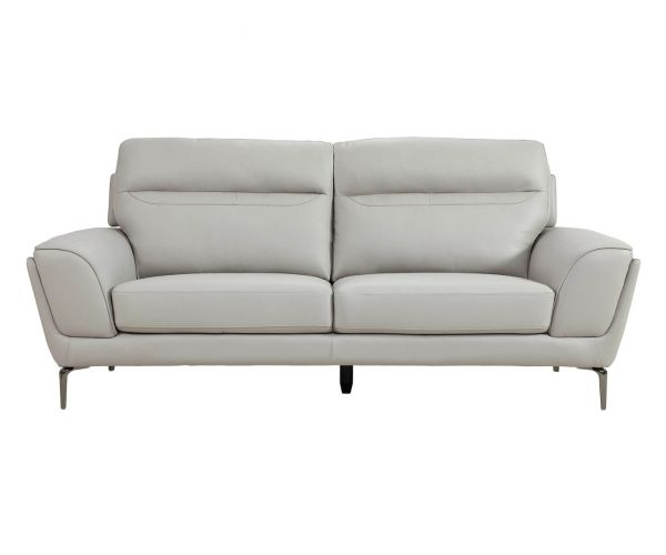 Vida Living Vitalia Light Grey Leather 3 Seater Sofa