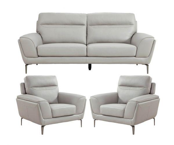 Vida Living Vitalia Light Grey Leather 3+1+1 Sofa Set
