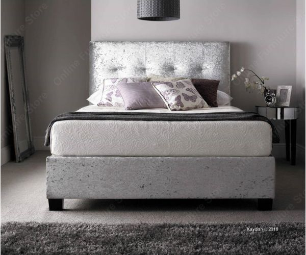 Kaydian Beds Walkworth Silver Crushed Velvet Bed Frame