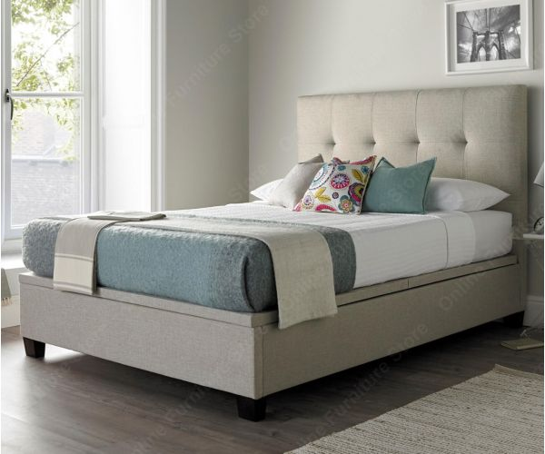 Kaydian Beds Walkworth Oatmeal Fabric Ottoman Bed Frame