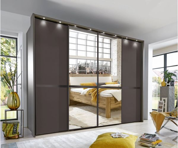 Wiemann New York Havana Finish and Mirror Door Sliding Wardrobe