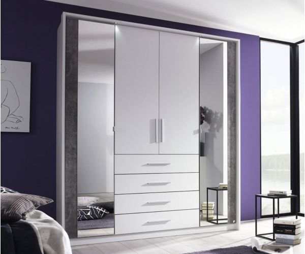 Rauch Wesel Alpine White Carcase with Stone Grey Front 4 Door 2 Mirror Wardrobe with Drawer with Light
