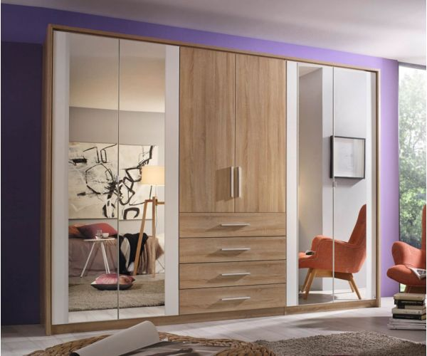 Rauch Wesel Stirling Oak Colour Carcase with Alpine White Front 6 Door 4 Mirror Wardrobe with Drawer with Light