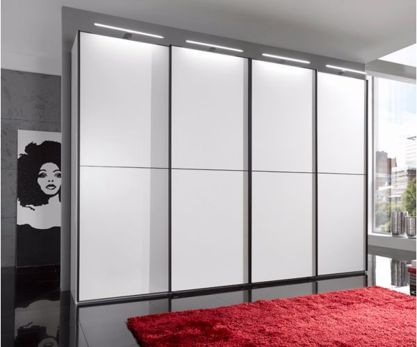 Wiemann Westside Wooden and White Glass Sliding Door Wardrobe