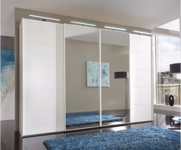 Wiemann Westside White Glass and Mirror Sliding Door Wardrobe