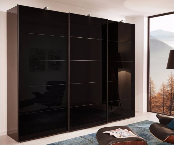Wiemann Westside Wooden and Black Glass Sliding Door Wardrobe