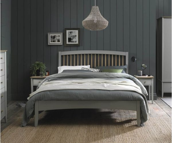 Bentley Designs Whitby Scandi Oak and Grey Spindle Low Footend Bed