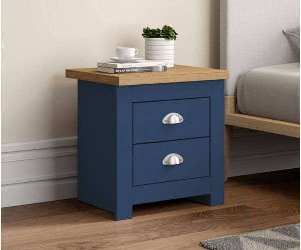 Birlea Furniture Winchester Navy Blue and Oak 2 Drawer Bedside Cabinet