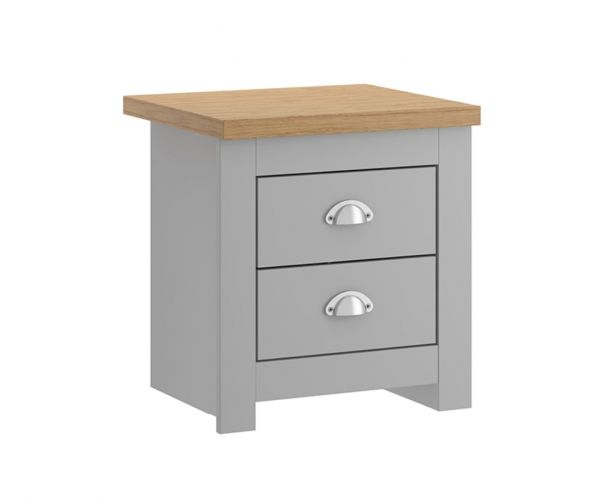 Birlea Furniture Winchester Grey and Oak 2 Drawer Bedside Cabinet