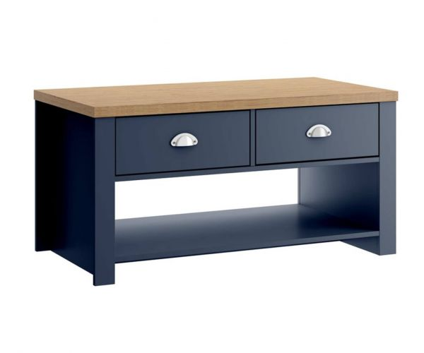 Birlea Furniture Winchester Navy Blue and Oak 2 Drawer Coffee Table