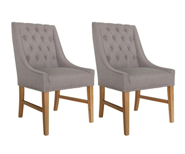 Vida Living Winchester Truffle Linen Fabric Dining Chair in Pair