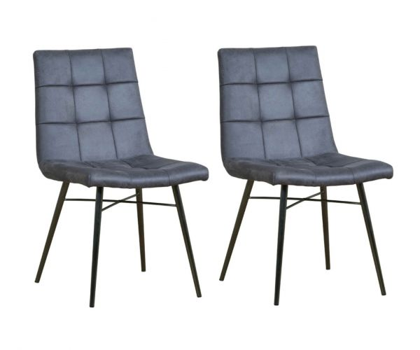Mark Webster Soho Light Grey Faux Leather Dining Chair in Pair