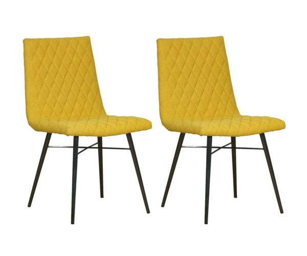 Mark Webster Soho Yellow Quilted Back Dining Chair in Pair