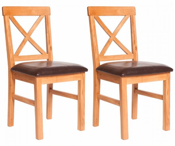 Furniture Link York Oak Dining Chair With Leather Seat