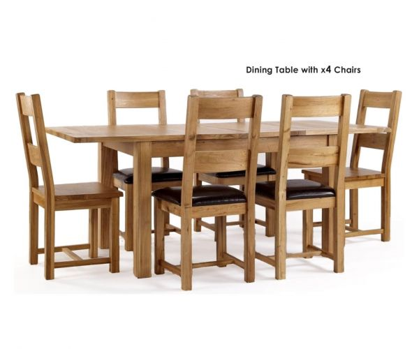 Furniture Line York Oak Rectangular Extending Dining Set with 4 Chairs - 120cm-160cm