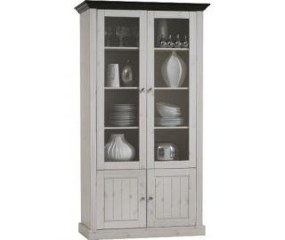 Steens Monaco Solid Pine 2+2 Tall Glazed Display Cabinet