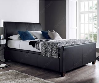 Kaydian Beds Allendale Black Leather Ottoman Bed Frame