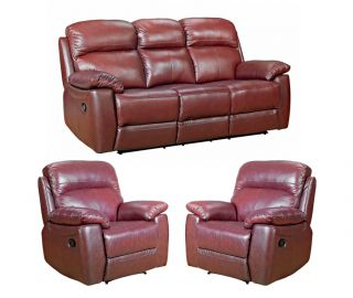 Furniture Link Aston Chestnut Leather 3+1+1 Sofa Set