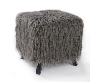 Derrys Furniture Heavy Shag Grey Faux Sheepskin Cube Stool