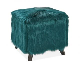 Derrys Furniture Heavy Shag Teal Faux Sheepskin Cube Stool