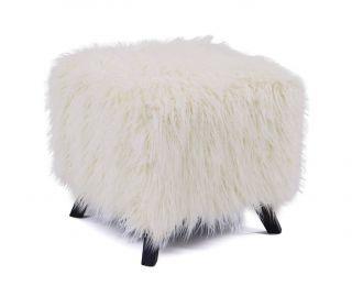Derrys Furniture Heavy Shag White Faux Sheepskin Cube Stool